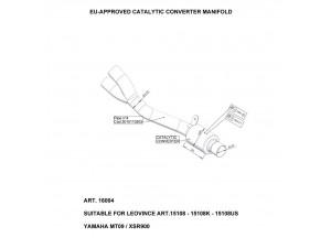 16004 - Collettore Scarico LeoVince Catalitico Yamaha MT-09 / XSR 900