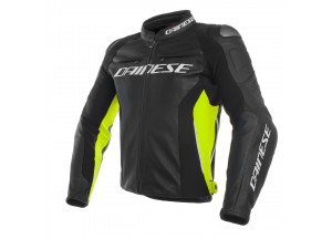 Giacca In Pelle Dainese Racing 3 Nero/Nero/Fluo-Giallo