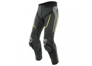 Pantaloni Dainese in Pelle Traforato Alpha Nero Grigio Giallo-Fluo