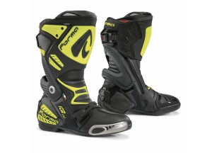Stivali In Pelle Racing Forma Ice Pro Nero Giallo Fluo