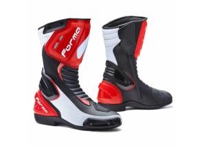 Stivali In Pelle Racing Forma Freccia Nero Bianco Rosso