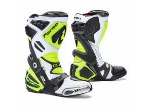 Stivali In Pelle Racing Forma Ice Pro Flow Bianco Nero Giallo Fluo
