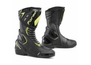 Stivali In Pelle Racing Forma Freccia Nero Giallo Fluo