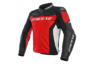 Giacca In Pelle Dainese Racing 3 Rosso/Nero/Bianco