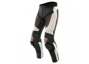 Pantaloni Dainese in Pelle Alpha Nero Bianco Rosso-Fluo