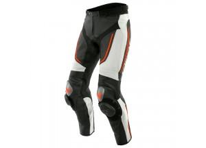 Pantaloni Dainese in Pelle Traforato Alpha Nero Bianco Rosso-Fluo