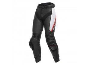 Pantaloni Moto Donna Pelle Dainese DELTA 3 LADY Perforata Nero/Bianco/Rosso