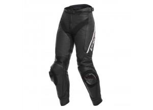 Pantaloni Moto Donna Pelle Dainese DELTA 3 LADY Perforata Nero/Bianco