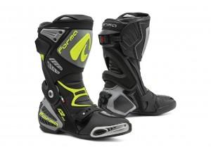 Stivali In Pelle Racing Forma Ice Pro Nero Grigio Giallo Fluo