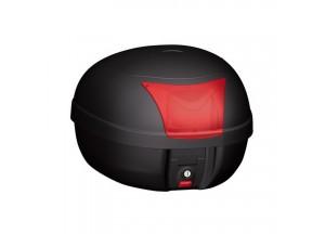 K28BAS - Kappa Bauletto Monolock Nero goffrato con catadiottri rossi 28 lt.