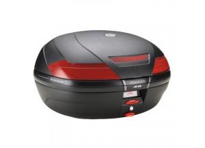 K49N - Kappa Valigia MONOKEY® nera goffrata con catadiottri rossi 47 lt.