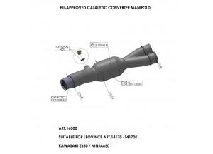16000 - Collettore Scarico LeoVince Catalitico Kawasaki Ninja 650 / Z 650 05-16