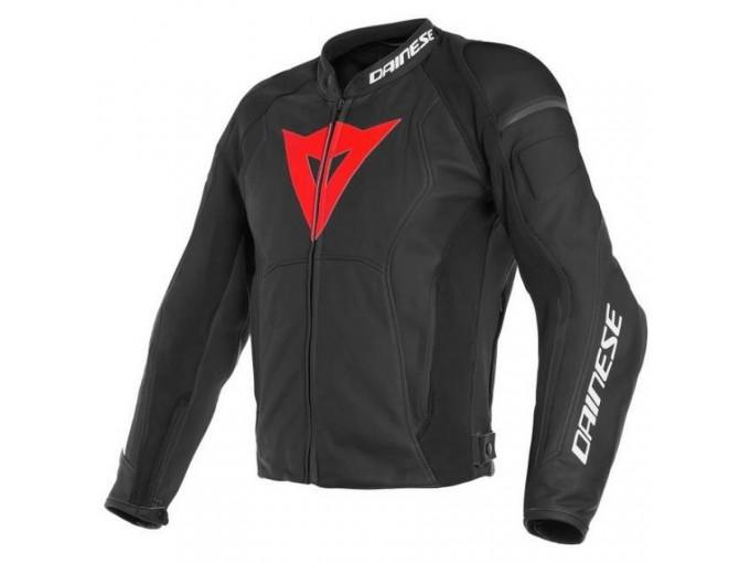 Leather Jacket Dainese Nexus Black Black Lava Red
