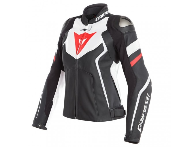 Leather Jacket Dainese Avro 4 Lady Black White Red Fluo