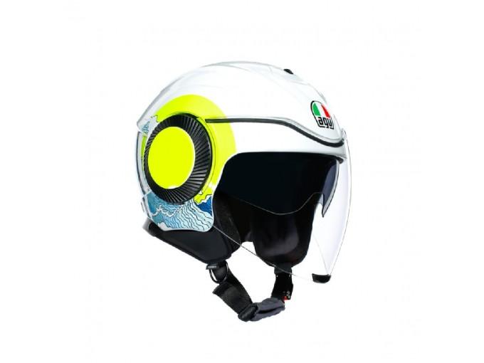 Helmet Jet Agv Orbyt Sunset White Fluo-Yellow
