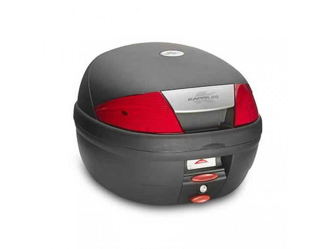 K26N - Kappa MONOLOCK Top-case 26 ltr. black embossed with red reflectors
