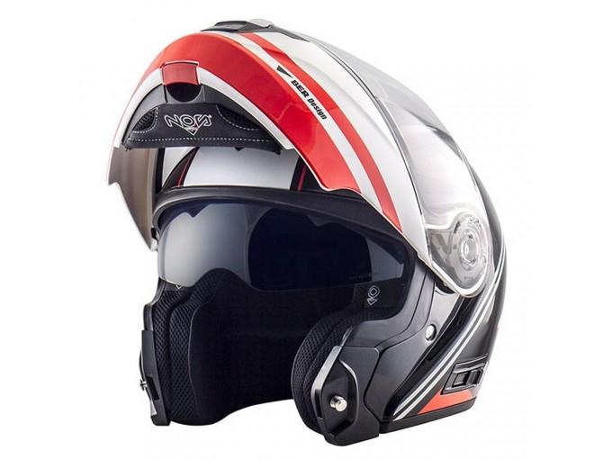 Helmet Flip-Up Full-Face Nos NS-8 Dynamic Glossy Red