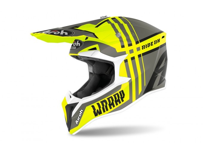 Helmet Full-Face Off-Road Airoh Wraap Broken Yellow Matt