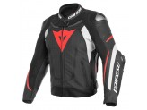 Perfored Leather Jacket Dainese Super Speed 3 Black White Red Fluo