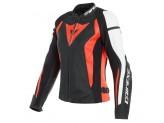 Leather Jacket Dainese Nexus Lady Black Fluo Red White