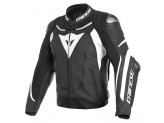 Perfored Leather Jacket Dainese Super Speed 3 Black White White