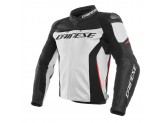 Leather Jacket Dainese Racing 3 White/Black/Red