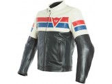 Motorcycle Jacket Man Dainese Leather 8 TRACK Black/Ice/Red