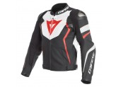 Perforated Leather Jacket Dainese Avro 4 Black White Red Fluo
