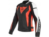 Perforated Leather Jacket Dainese Nexus Black Fluo Red White
