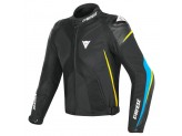 Motorcycle Jacket Man Dainese SUPER RIDER D-DRY Black Blue Yellow-fluo