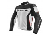 Motorcycle Jacket Man Dainese Leather Perforated RACING 3 White/Black/Red