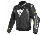 Perfored Leather Jacket Dainese Super Speed 3 Black Grey Yellow Fluo