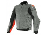 Leather Jacket Dainese Super Race Charcoal-Grey Black Fluo-Red