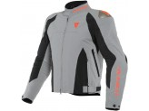 Motorcycle Jacket Man Dainese INDOMITA D-DRY XT Frost-Gray Black Fluo-Red