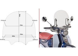 1168A- Givi Transparent Windshield 38,5 x 40 cm Honda Super Cub C125 (2018)