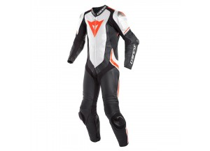 Leather Suit Dainese Laguna Seca 4 1PC Summer Black/White/Fluo-Red