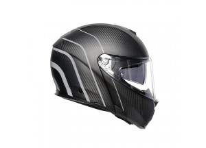 Helmet Flip-Up Full-Face Agv Sportmodular Refractive Carbon Silver