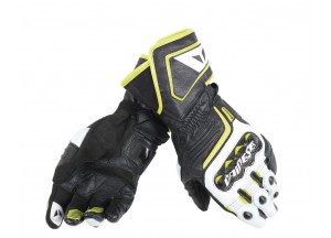 Motorcycle Long Gloves Dainese  Carbon D1 Black/White/Fluo-Yellow