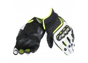 Motorcycle Short Gloves Dainese  Carbon D1 Black/White/Fluo-Yellow