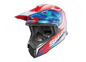 Full-Face Helmet Off-Road Shark VARIAL REPLICA TIXIER MAT Red White Blue