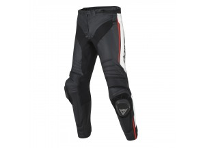 Perforated Leather Pants Dainese Racing Misano Black/White/Fluo-Red
