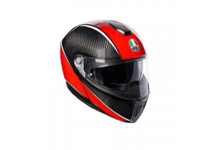 Helmet Flip-Up Full-Face Agv Sportmodular Aero Carbon Red