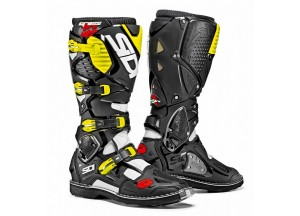 Boots Moto Off-Road Crossfire 3 White Black Yellow Fluo