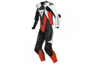 Leather Suit Dainese Laguna Seca 5 1PC Summer Black/White/Fluo-Red