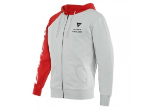 Dainese PADDOCK Full-Zip Hoodie Glacier-Gray/Lava-Red/Black