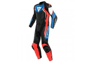 Motorbike Suit Leather Dainese AVRO D2 2PCS Black Light-Blue Fluo-Red
