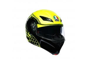 Helmet Flip-Up Full-Face Agv Compact St Detroit Fluo-Yellow Black