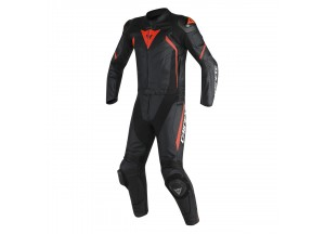 Motorbike Suit Leather Man Dainese AVRO D2 2PCS Black/Red-Fluo