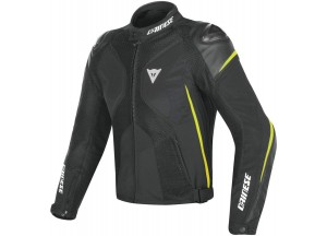 Motorcycle Jacket Man Dainese SUPER RIDER D-DRY Black/Yellow-fluo