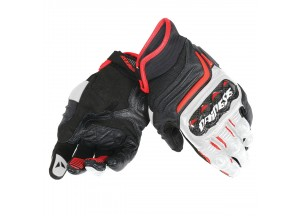 Motorcycle Gloves Man Dainese CARBON D1 SHORT Black/White/Red-Lava